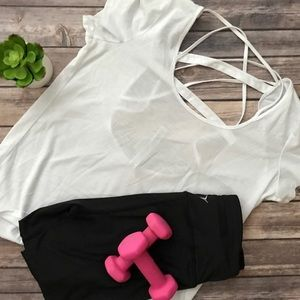 Alo Yoga White Open Back T-shirt